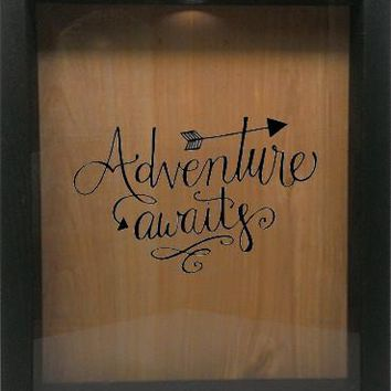 "Wooden Shadow Box Wine Cork/Bottle Cap Holder 9""x11"" - Adventure Awaits"