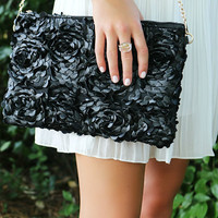 Forever Yours Textured Black Faux Leather Rose Pattern Clutch