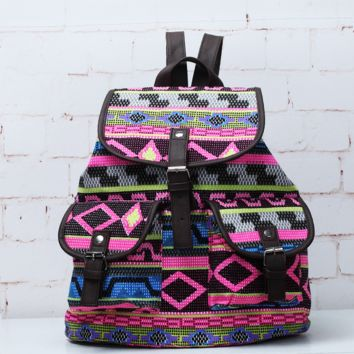 Tribal Aztec Ethnic Travel Bag Canvas Lightweight College Backpack