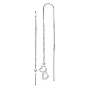 Small Double Heart Threader Earrings in Sterling Silver