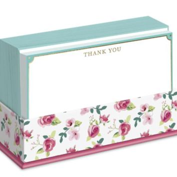 Floral Notecards in Pink and Mint