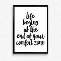 Life begins at the end of your comfort zone,motivational poster,dorm decor,home decor,watercolor art,wall hanging,best words,typographyc