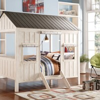 Spring cottage collection weathered white finish wood and washed grey full sized bed