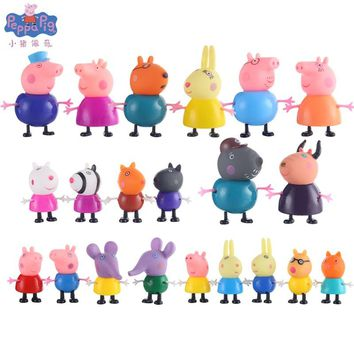 Peppa Pig George Pink pig family friend Teacher Doctors Dog Rabbit Cartoon Family Friends Figure high quality Toy for Children