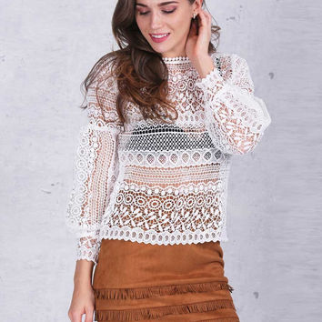 White Hollow Out Lace Long Sleeve Blouse