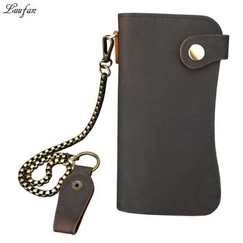Mens Vintage crazy horse leather Snap long wallet  genuine leather bifold chain Rfid wallet with zipper coin pocket card holder