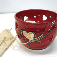Red Heart Yarn Bowl with cut out heart designs by blueroompottery