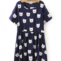 Blue Cat Head Print Short Sleeve Shift Mini Pleated Dress