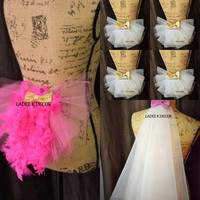 Set OF 6 Bachelorette Party Tutu Booty Veils 1 Bride Booty Veil 1 Bride Hair Veil and 4 Bridesmaids booty veil