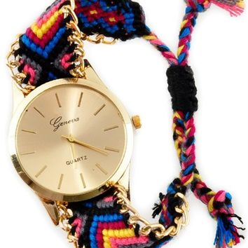 Kennedy Gold Multi Yarn Band Watch - Black