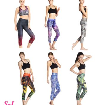 White Blossom Rose Women Sport Running Capris Compression Foldover Fitness Gym Crop Tights Floral Printed Yoga Leggings Stretchy