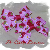 Clippie Pigtail Hair Bow Set ~ Red and Pink ~ Strawberry ~ Baby Hair Bow ~ Boutique Hair Bow ~ Small Hair Bows