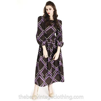 Vintage Marimekko Maxi Purple Brown Plaid 38/10 Cotton Dress Gown 1970s