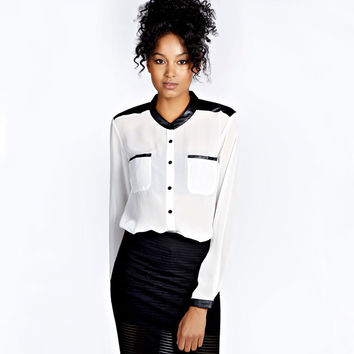 White Long Sleeve Button Up Top with Pocket