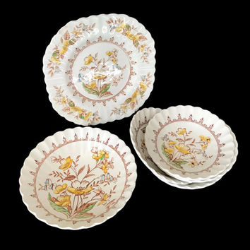 Vintage Meakin China Berry Bowls Soup Bowl Classic White Braemar Pattern Yellow Flowers with Brown Trim Made in England