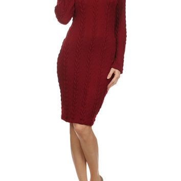 Red Cable Sweater Knit Midi Dress