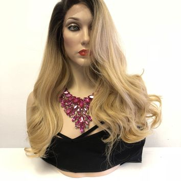 "Blonde Ombre Balayage' Long Wavy Hair Lace Front Wig | 2"" Multi Parting
