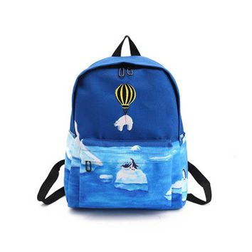 Personalized Hot Air Balloon Cute Cartoon Animal Backpacks Women Canvas Backpacks School Bags For Teenagers For Girls Travel Bag