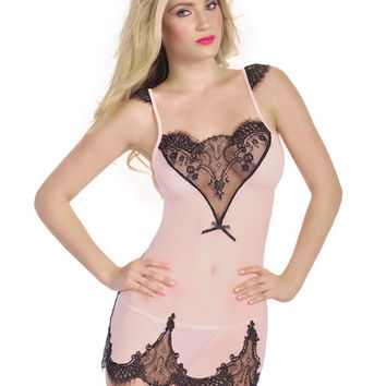 Sheer Mesh Contrast Lace Insert Baby-doll Lingerie