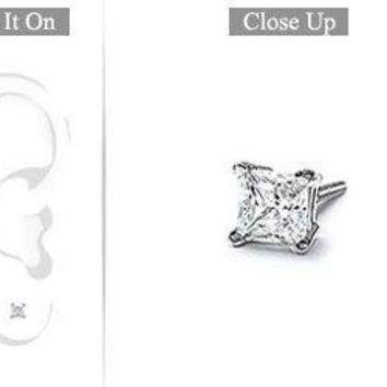 Mens 18K White Gold : Princess Cut Diamond Stud Earring - 0.25 CT. TW.