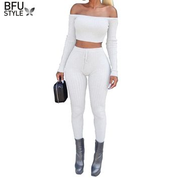 2 Piece Set Women Sexy Elegant Knit Suit Set Female Off Shoulder Pants Crop Top Two Piece Set Suits Slim