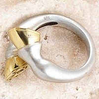 Golden Hoof Ring, 18k & Sterling, Ashley's Horse Jewelry