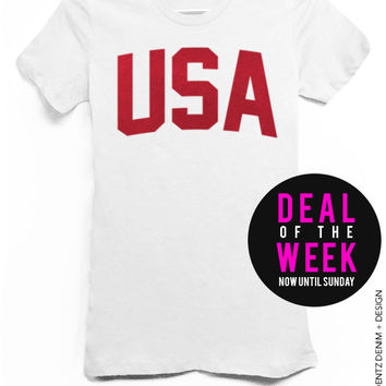 USA - Patriot Holiday - White with Red Tshirt