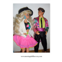 Barbie and the Rockers. Derek and Barbie. 1980's set. Cute outfits.  By Mattel.  Nice two doll set. Vintage. Toys, kids, children, gifts.