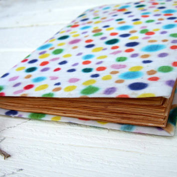Large notebook with colorful dots - Handmade batik journal, lined and antique paper. 9x6inch