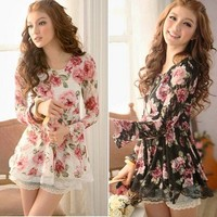 Fashion Korean Lace Gauze Rose Floral Long Sleeve Casual Skirt Dress 685