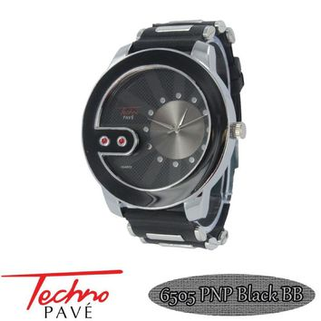 Techno Pave Watch Contemporary Silver Black