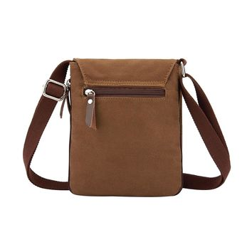 Casual Small Canvas Men's Messenger Bags Brief Design Solid Crossbody Bags Mini Brand New Men's Bag