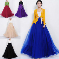 New NEW Women Mesh Chiffon Pleated Princess Long Maxi  Elastic Waist Skirt Gown