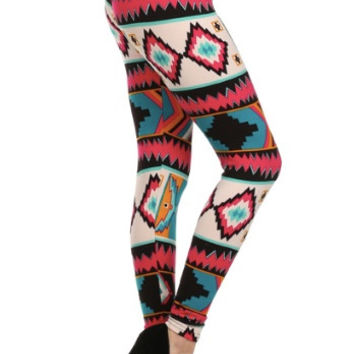 Pink Aztec Multi Print Leggings