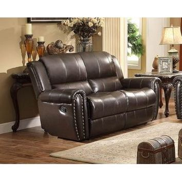 Homelegance Bosworth Recliner Love Seat In Dark Brown Genuine Top Grain Leather Match