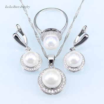 L&B New circles simulated pearl ball pendant long necklace women black chain fashion silver Color jewelry sets