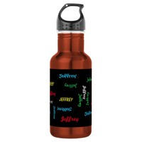 Water Bottle, Personalized, Repeating Name, Orange Water Bottle