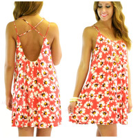 Tuscaloosa Coral Daisy Print Swing Dress