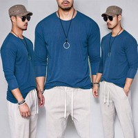 Fashion Men's Slim Fit Hippy Long Sleeve Muscle Tee T-shirt Casual Tops Blouse