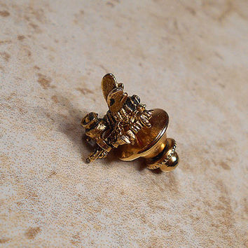 Vintage Seabees Tie Tack Lapel Pin Gold Tone Bee with Gun US Navy Guys Formal Military