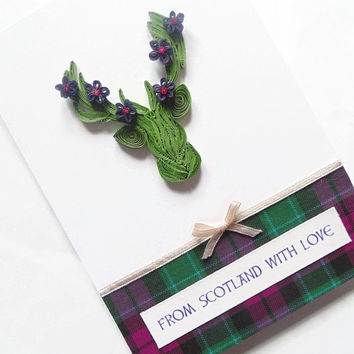 Quilled stag Scotland card, quilled card, Scotland card, Scottish card, quilling card, stag card, from Scotland with love card, tartan card