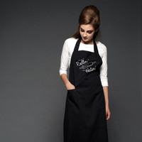 They See Me Rollin' PRINTED BLACK APRON | Cotton Twill Printed Apron, Women's Modern Apron