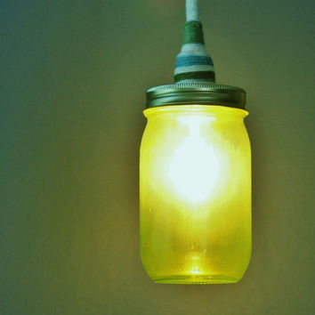 Mason Jar Lantern Pendant Light Chartreuse Green Glass by LITdecor