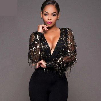 Women Jumpsuit Sequined Leotard Embroidery Jumpsuit