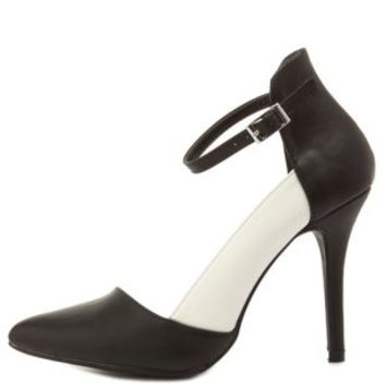 Black/White Color Block D'Orsay Pumps by Charlotte Russe