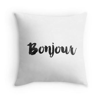 Bonjour Throw Pillow includes insert - Paris, French home, black and white