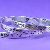 PARTNERS IN CRIME - Hand Stamped Aluminum Cuff Bracelets Set, Forever Love, Friendship, Bff Gift, Script Font