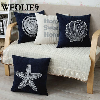 Cushion Case Sea Shell Mediterranean Style Decorative Soft Corduroy Square Couch Sea Pillow Cover Throw Home Cafe Bed Supplies