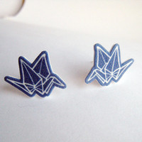 Blue Origami Crane Post Earrings Shrinky Plastic