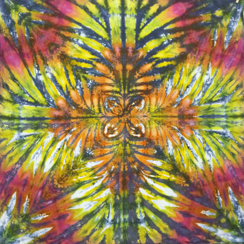 Trippy tie dye tapestry or wall hanging rainbow